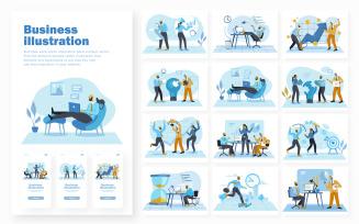 Business Work Scene Illustration Pack Concept Vector