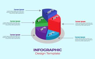 Isometric 3d Pie Chart Infographics Design