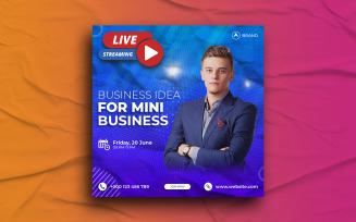 Live streaming workshop social media Instagram post Banner template