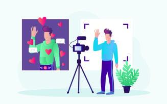 Video Blogging Live Telecast Free Illustration Concept
