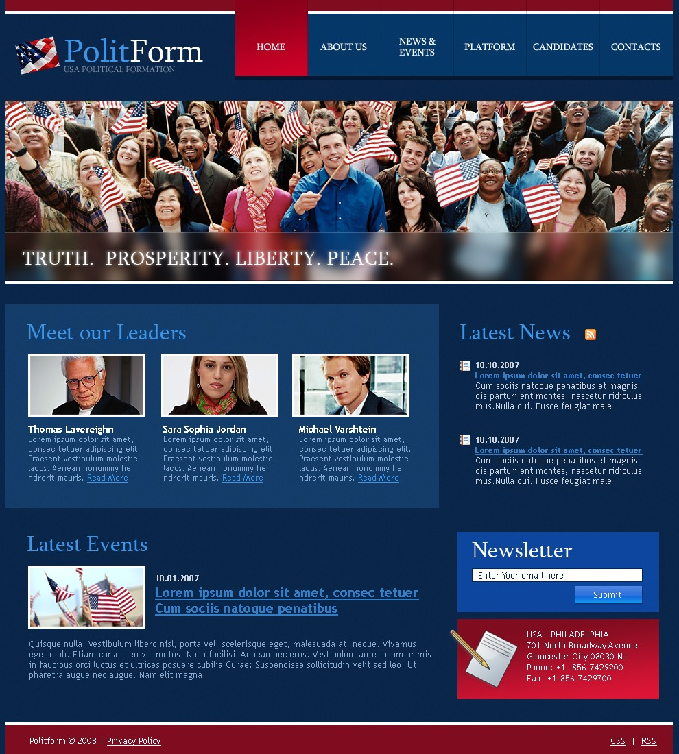 Political Party Website Template #19937