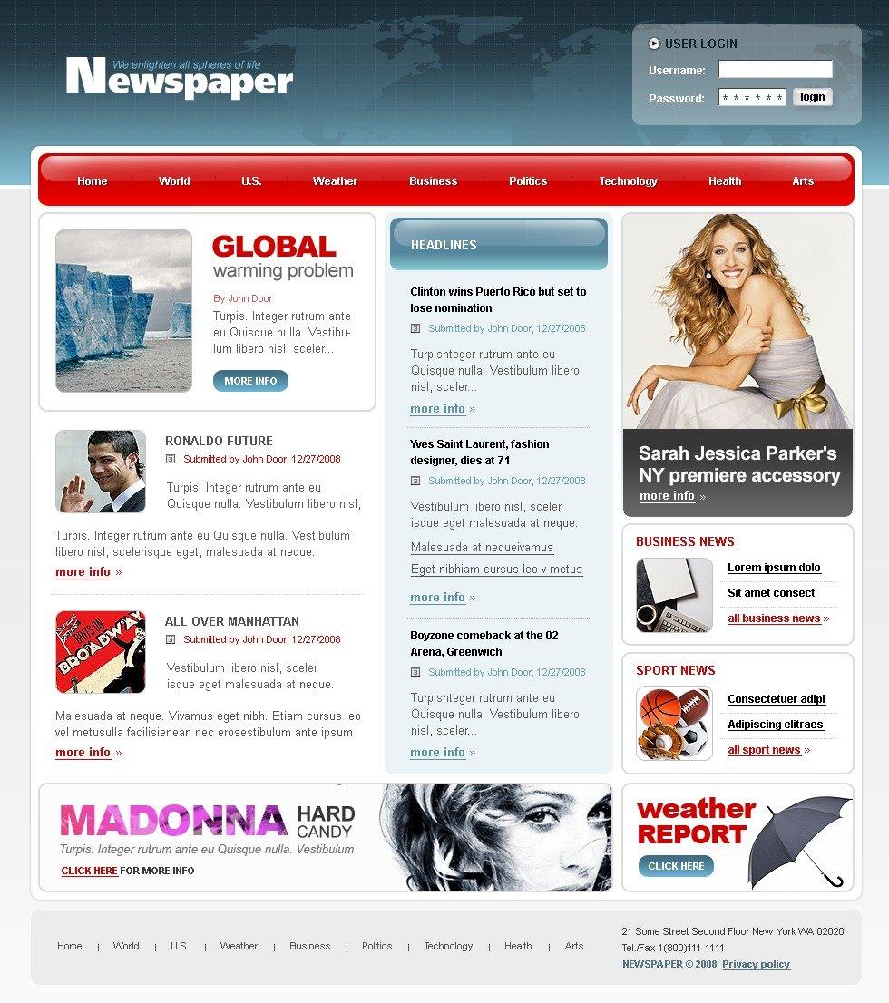 news portal website template 20061. Black Bedroom Furniture Sets. Home Design Ideas