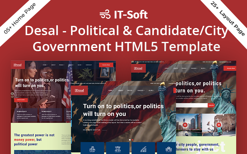 Desal - Political & Candidate/City Government HTML5 Template