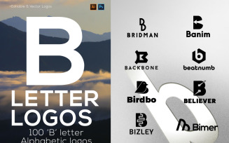 100 B Letter Alphabetic Logos Bundle