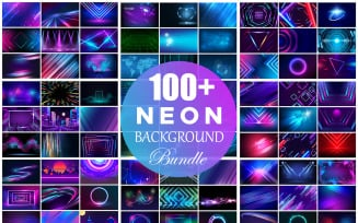 Neon Background Bundle, Abstract Glowing Neon Background Collection, Web Background