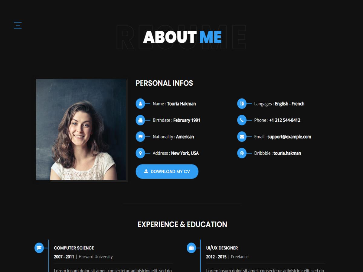 Touria - Personal Portfolio WordPress Theme