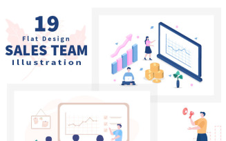 19 Sales Team with Financial Business Vector Illustration