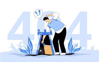 404 Nothing Found Illustration Concept Vector