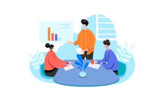 Office Teamwork Illustration Concept Vector