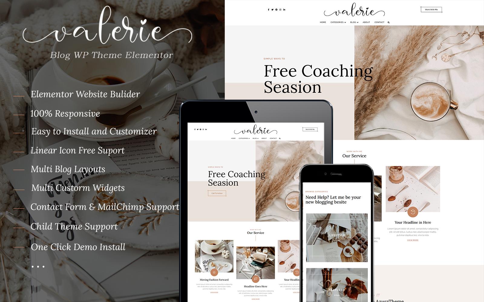 Valerie - Blog WordPress Theme Elementor