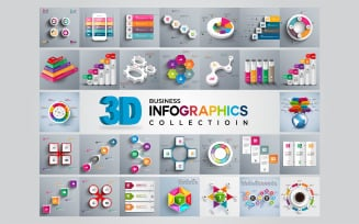 3D Modern Business Collection Ai Vector Infographic Elements