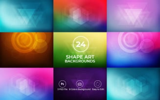 24 Shapes Art Background - with 3 PSD and 8 Color Background