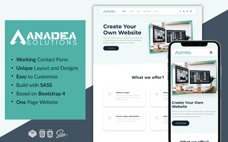 Anadea Solutions - Creative and Clean One-Page Multipurpose Business Template