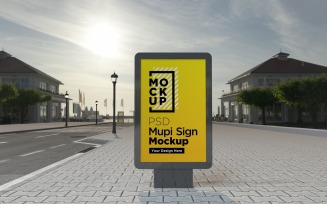 evening view sign mockup template