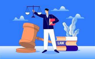 Law, Lawyer, Justice And Law Vector Illustration Concept