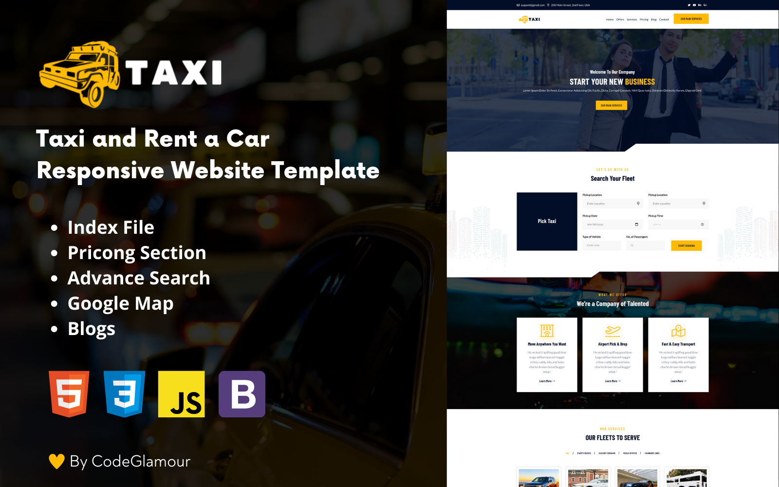 Taxi - Rent a Car Responsive HTML5 Landing Page Template