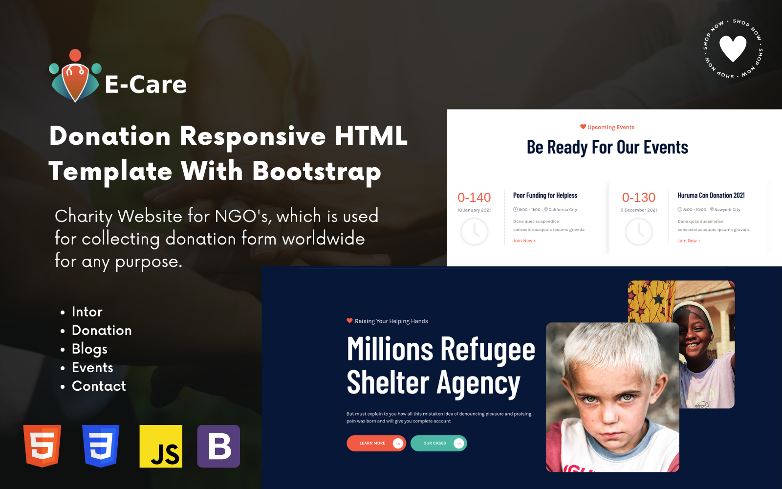 Ecare - A Responsive Charity HTML5 Landing Page Template
