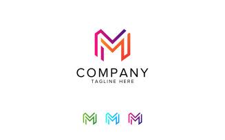 Letter M Hexagon Line Logo Design