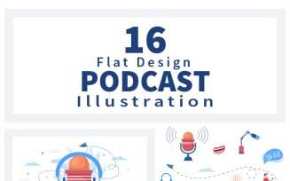 16 Podcast Background Vector illustration