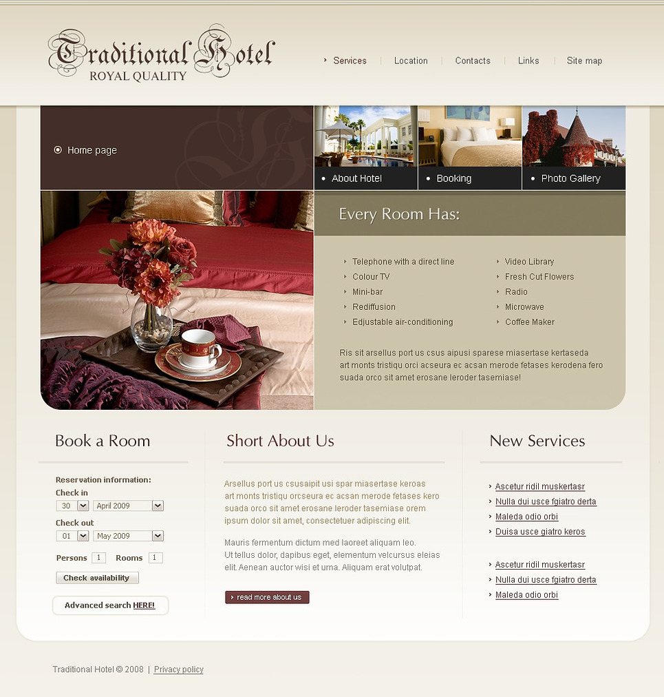 Mod le web 20613 pour site d 39 h tel for Site web pour hotel