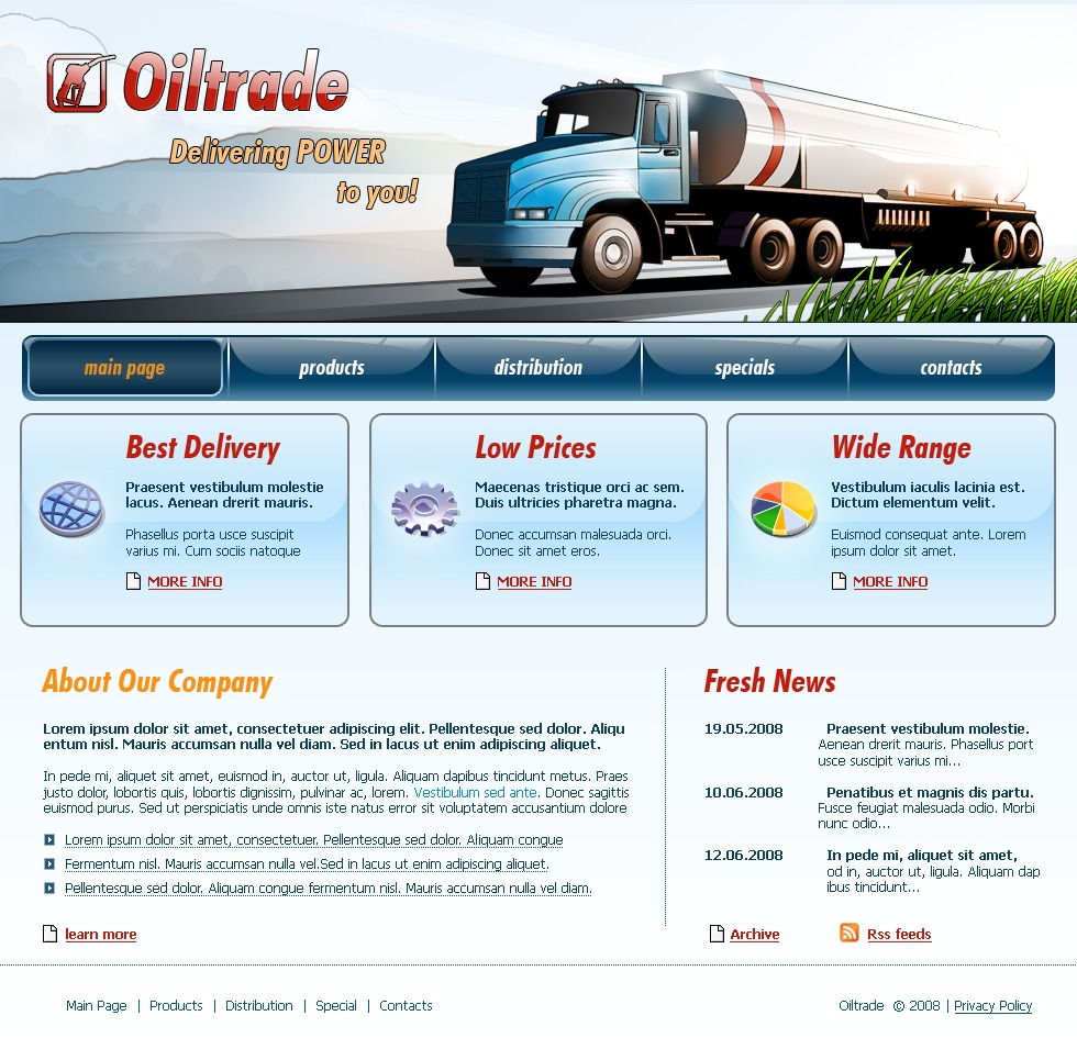 Trucking Websites Templates: Transportation Website Template #16999