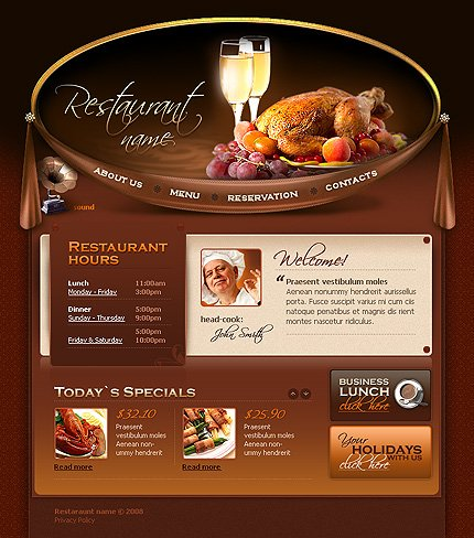web design templates restaurant