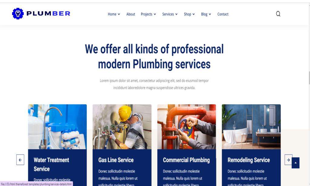 Plumbing Services HTML Template