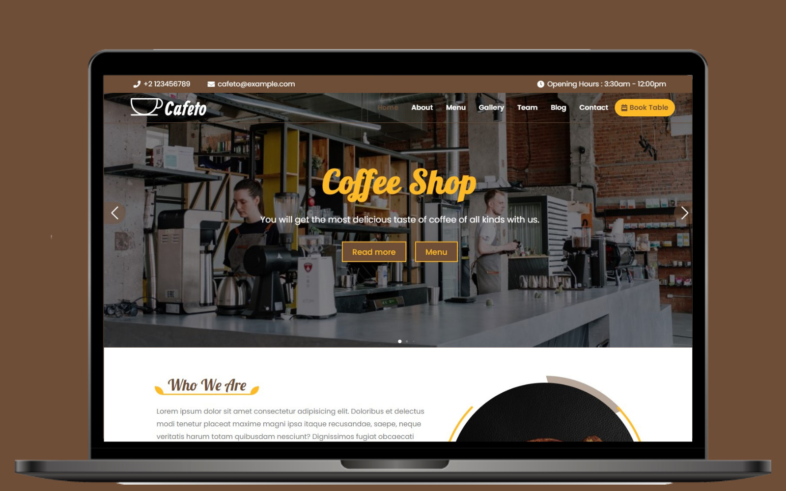 Cafeto - Cafe & Coffee Shop Landing Page Template