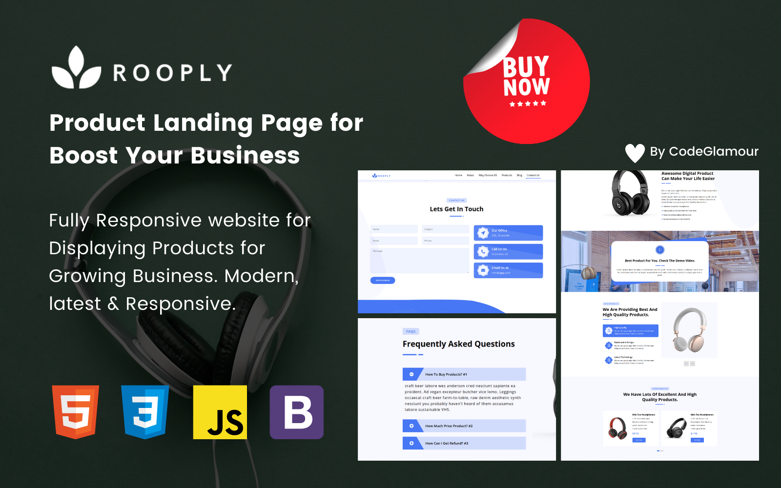 Rooply - Productd Responsive Landing Page in HTML5