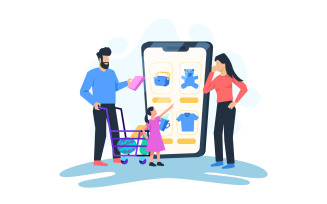Family Online Shopping Free Vector Illustration Concept