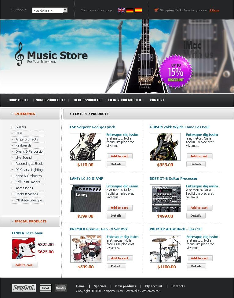Music Store OsCommerce Template