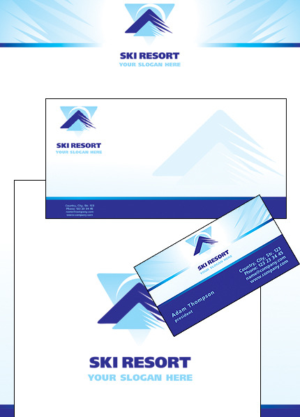 Skiing Corporate Identity Template Vector Corporate Identity preview
