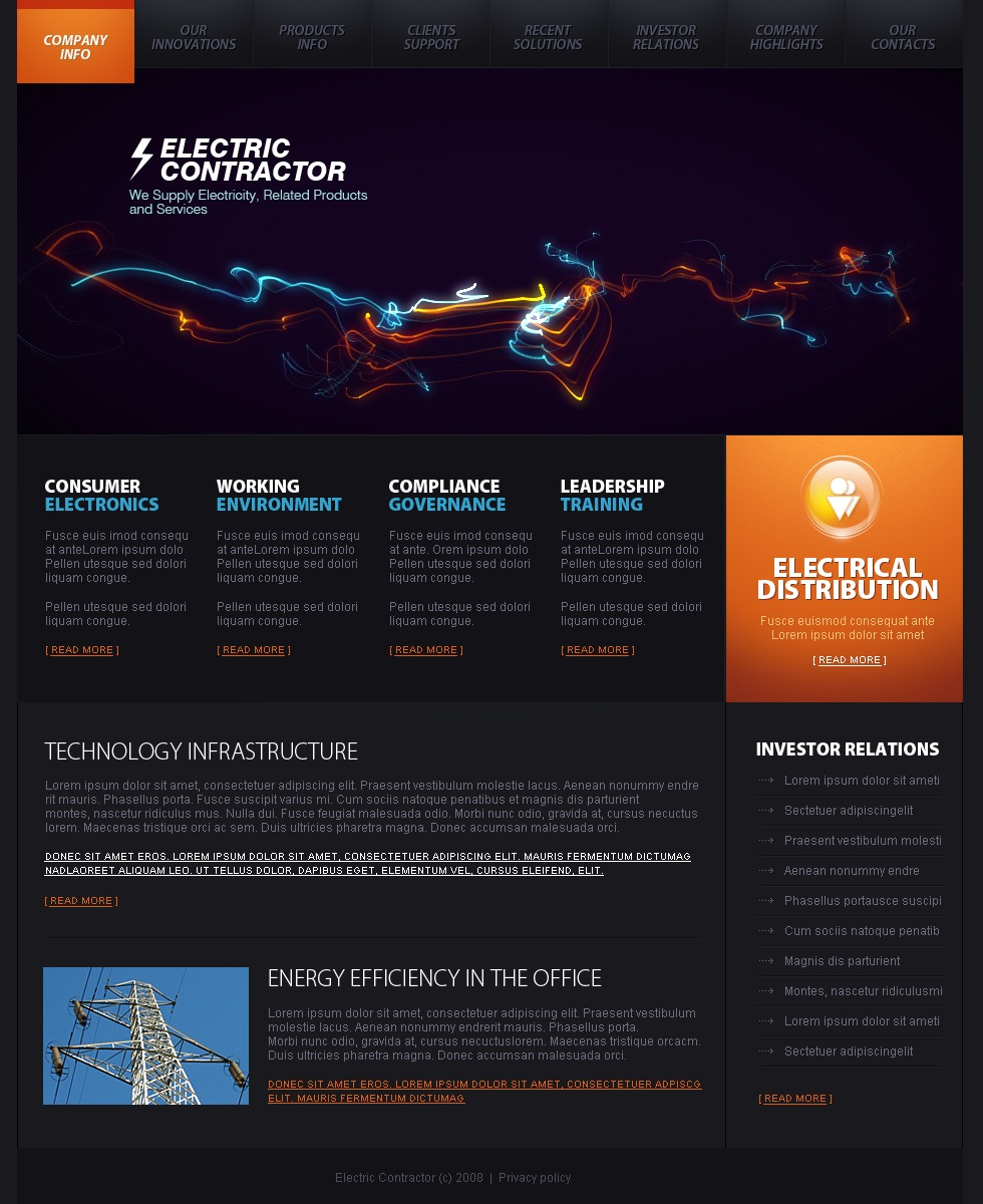 Lighting Amp Electricity Website Template 21492