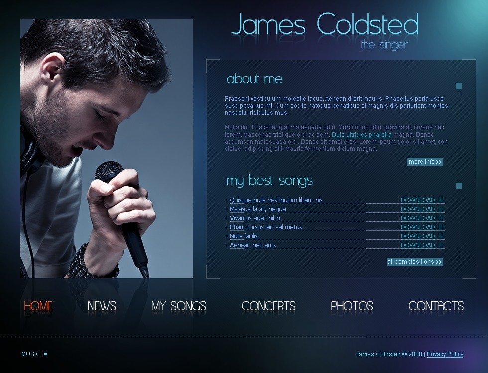 Singer flash template 21760 for Dj biography template