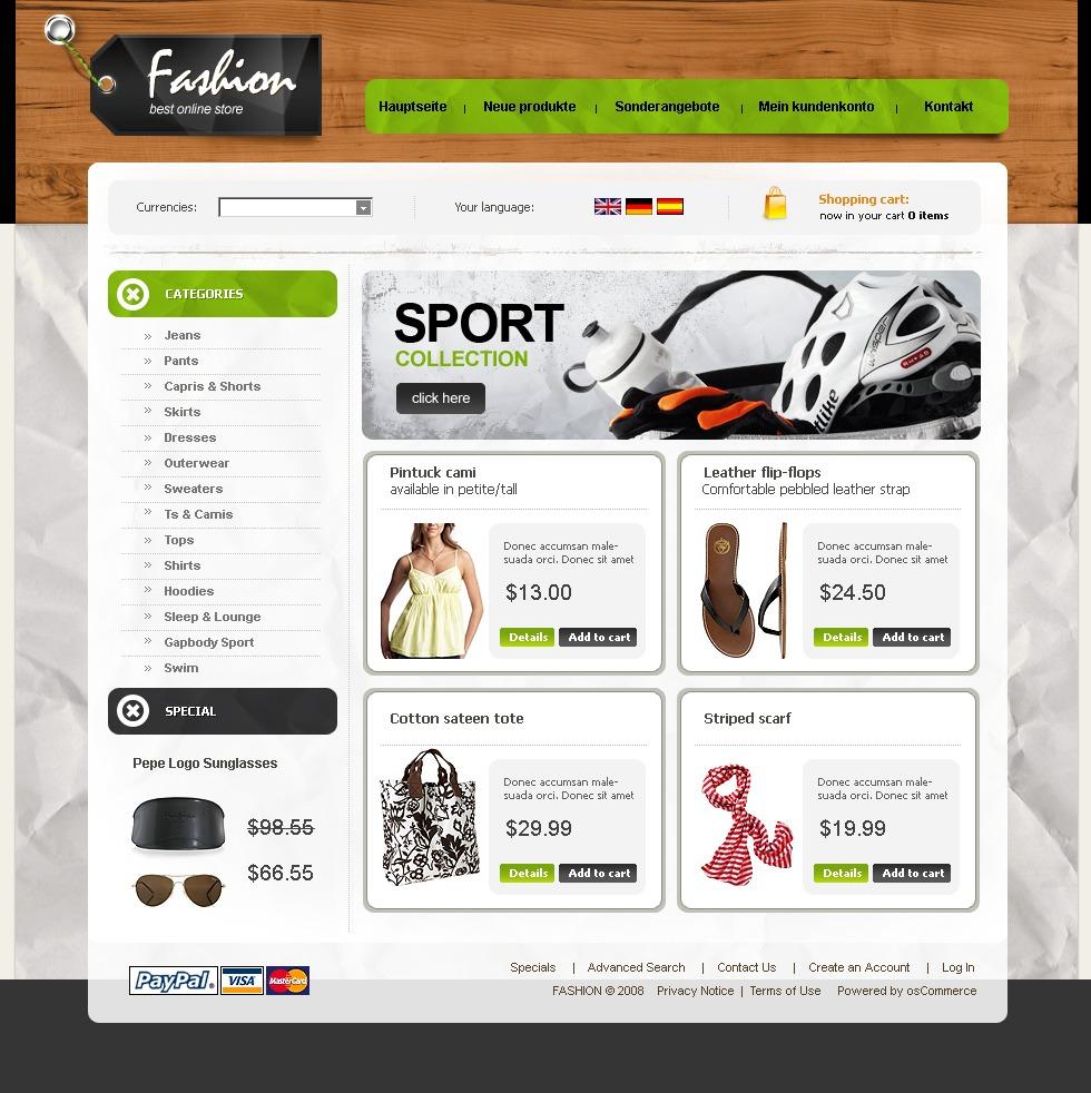 Szablon OsCommerce #21723 na temat: sklep modowy - zrzut ekranu