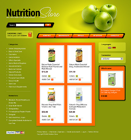 Green Apples Cre Loaded Shopping Cart Template at YouNeedTemplates.com
