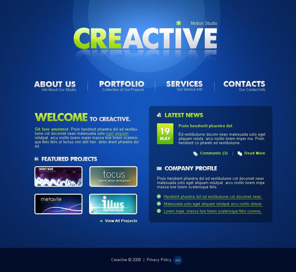 Tema flash 21945 per un sito di design studio for Sito di design