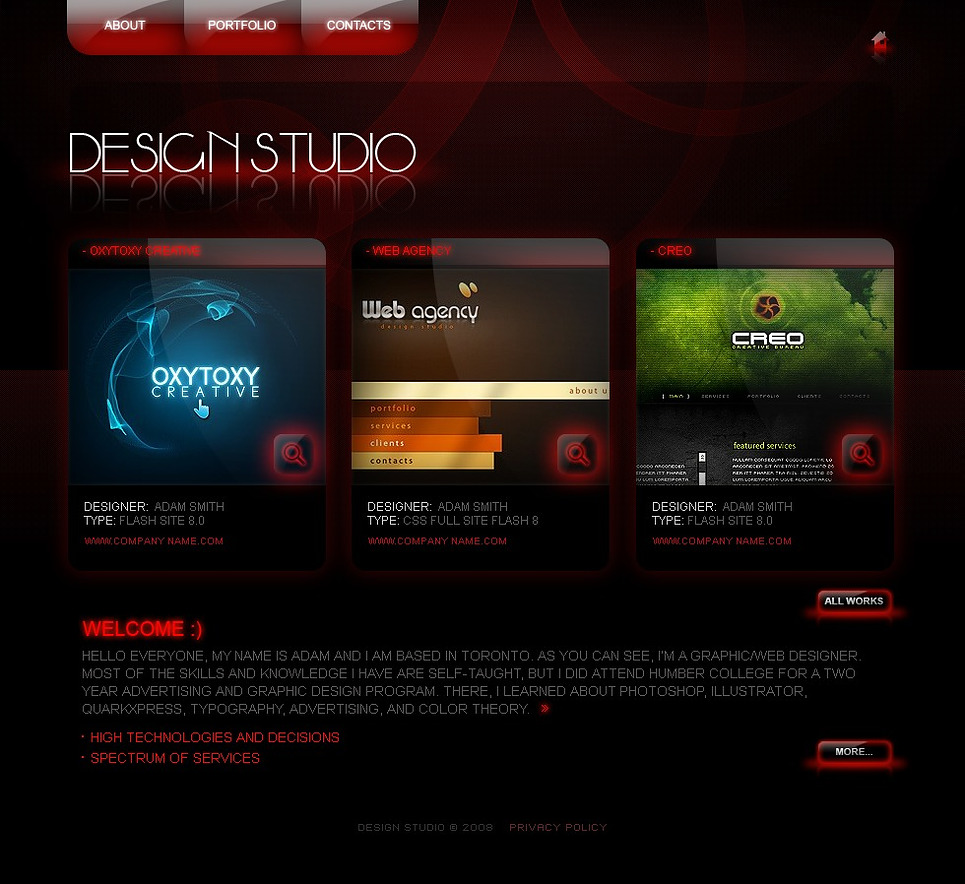 Modello siti web per un sito di design studio for Siti web di home plan