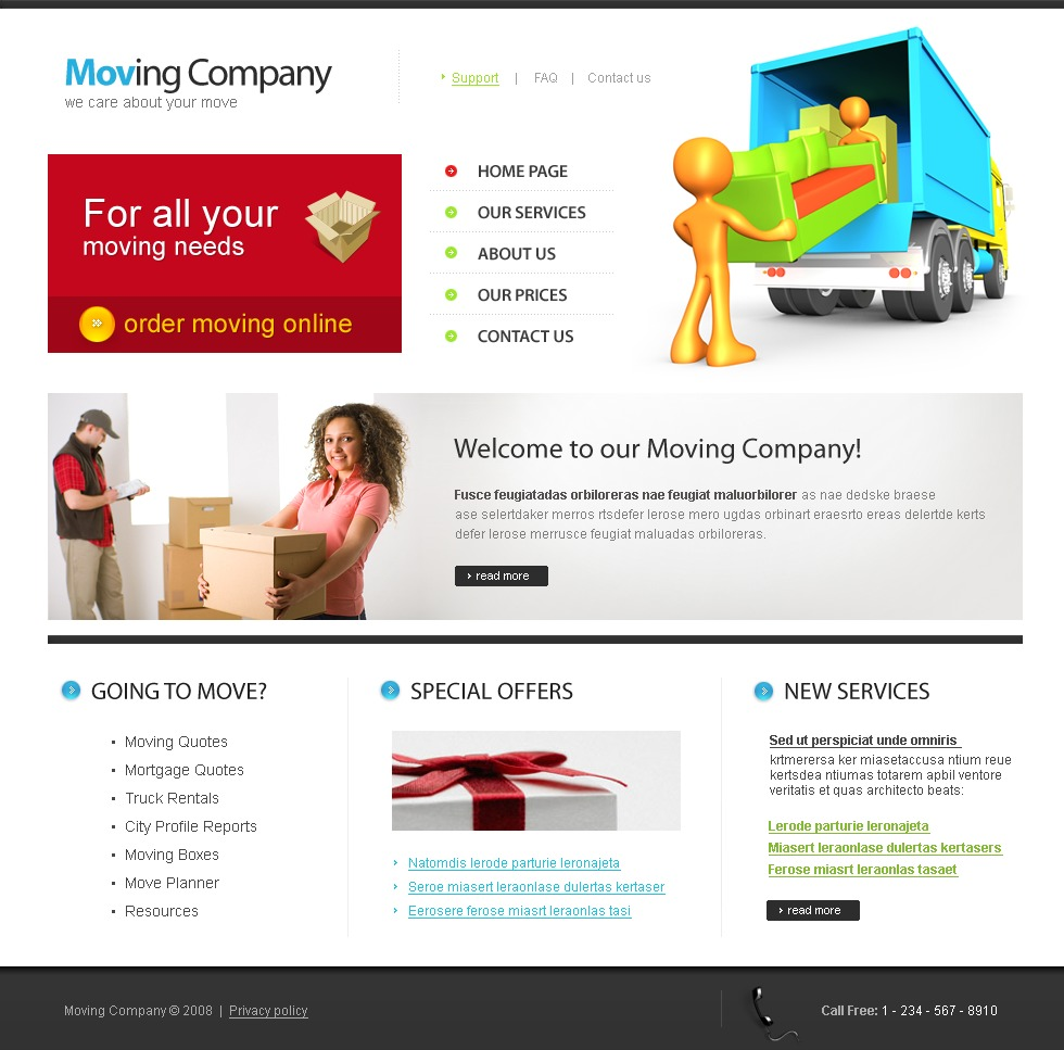 Moving Company Website Template #22365