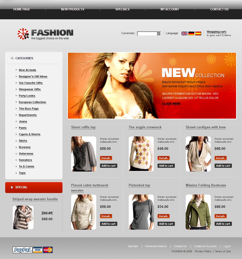 fashion store oscommerce template  22495