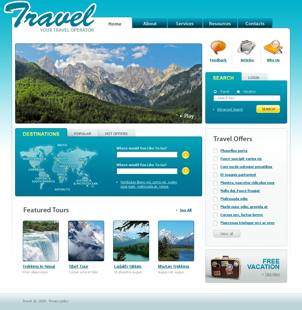 travel agency website template 22548. Black Bedroom Furniture Sets. Home Design Ideas