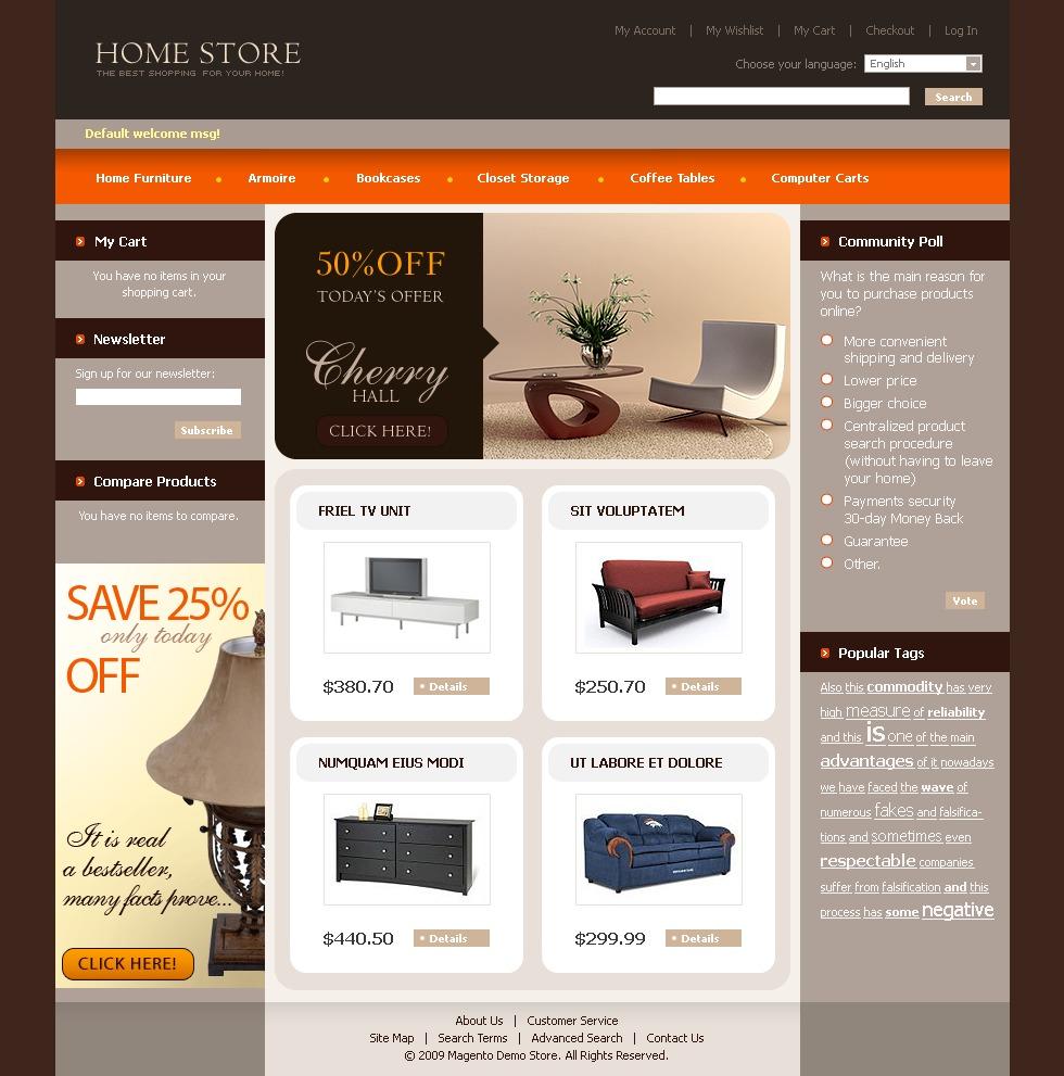 Tema magento 22694 per un sito di arredamento e design for Sito arredamento design