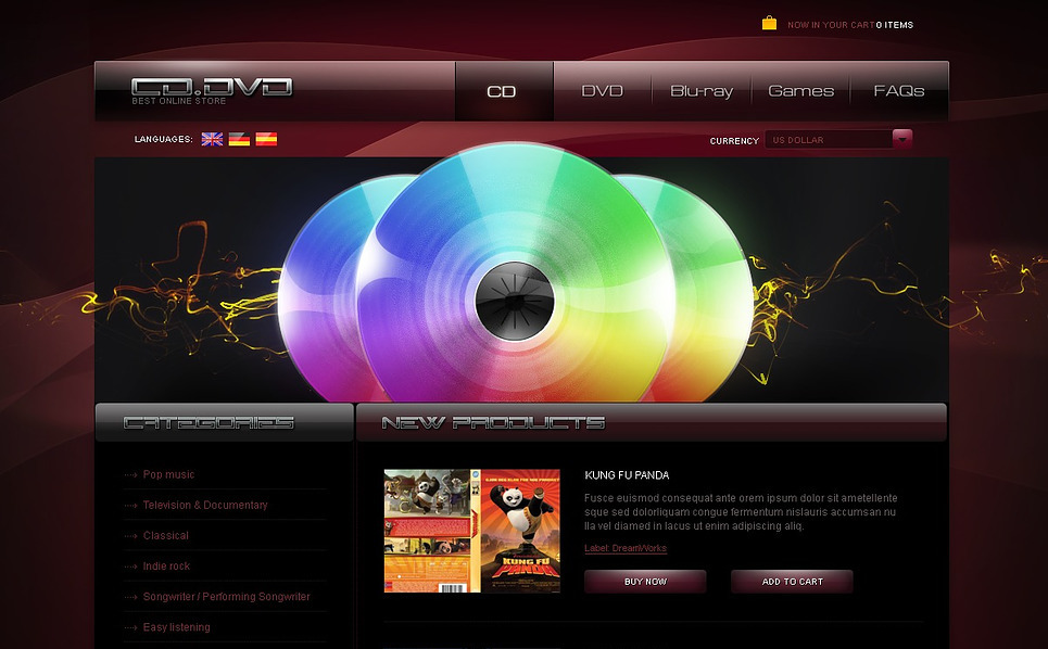 PSD Vorlage für DVD Shop  New Screenshots BIG