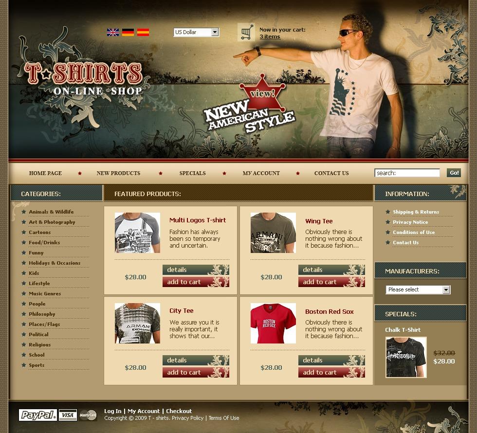 T-shirt Shop OsCommerce Template - screenshot