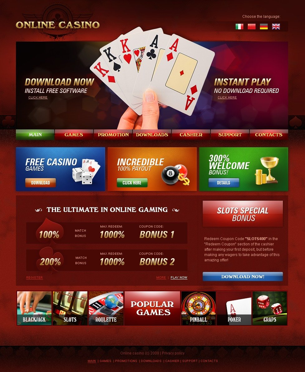 free casino website templates