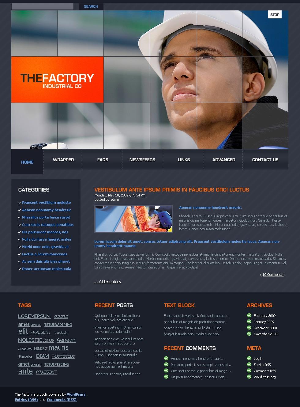 Tema WordPress #23430 per Un Sito di Industria - screenshot