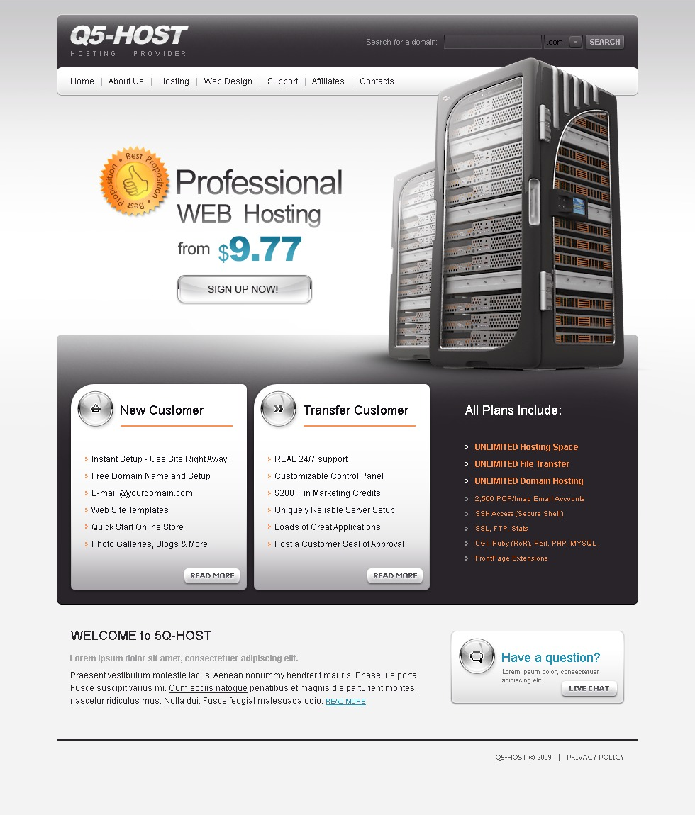 Hosting Website Template #23562
