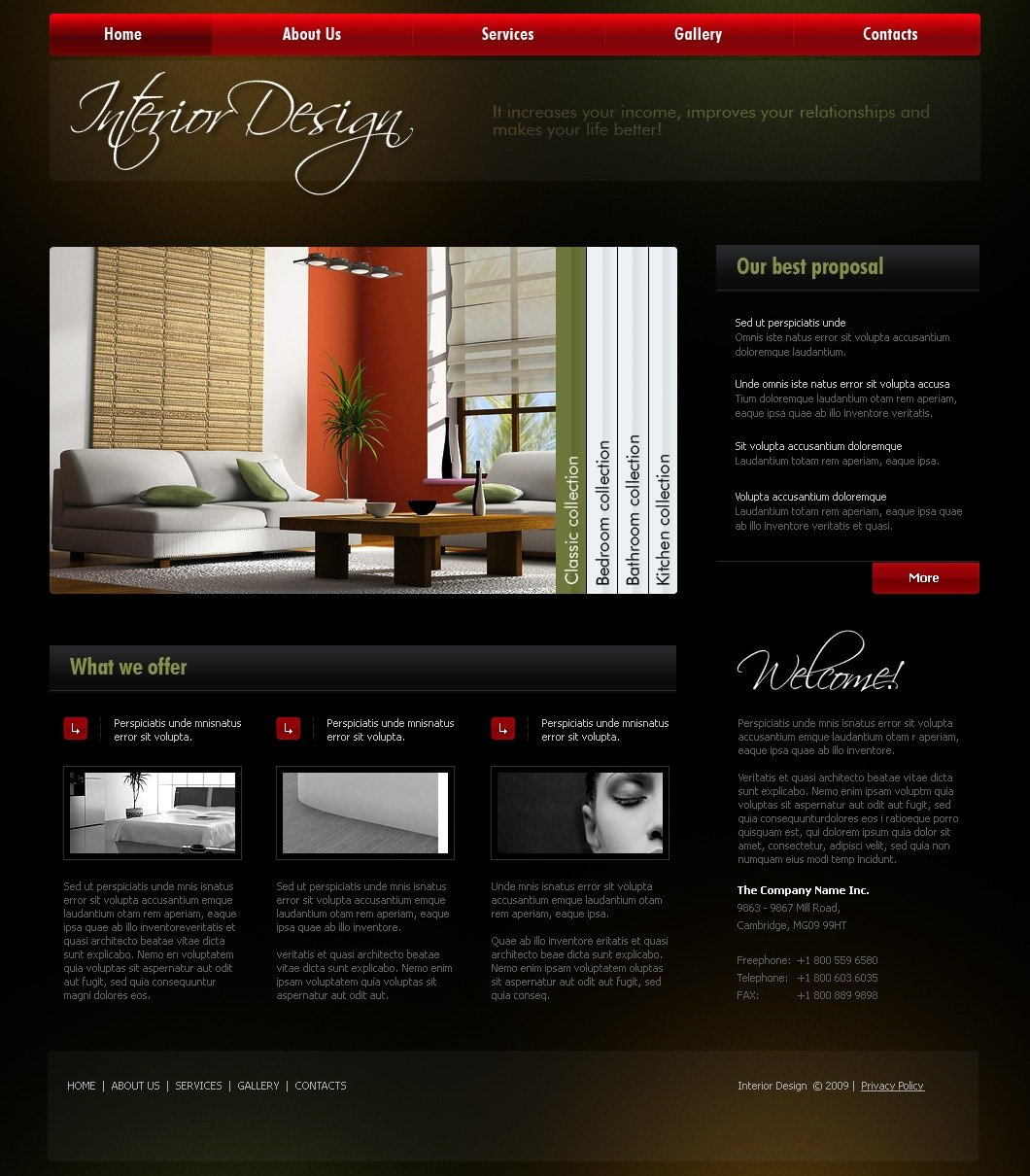 Interior design website template 23574 for Interior design sites