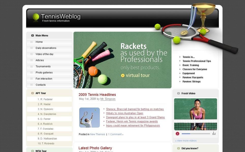 Modello siti web per un sito di tennis for Siti web di home plan