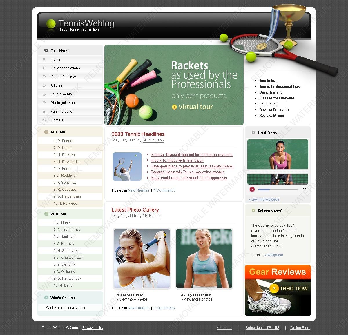 tennis website template 23660 by wt website templates. Black Bedroom Furniture Sets. Home Design Ideas